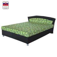 Manželská posteľ s úložným priestorom, molitánová, čierna - zelená, BIRGITA