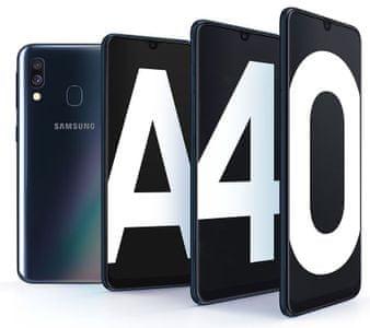 Samsung Galaxy A40, super AMOLED Infinity-U displej, duálny širokouhlý fotoaparát, atraktívny dizajn, 8jadrový procesor.