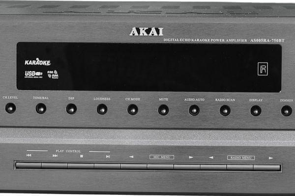 av receiver akai as005ra-750B 5.1 sústava akai usb vstup Bluetooth sieťová prevádzka 7 dsp režimov karaoke 2 mic vstupy pre 2 mikrofóny digitálny echo efekt