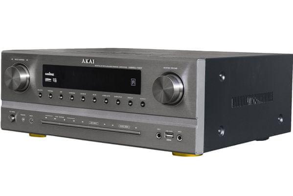 av receiver akai as005ra-750B výkon 375 w podpora dts ac-3 pre výborný zvuk 5.1 systém am fm tuner digitálne ladenie