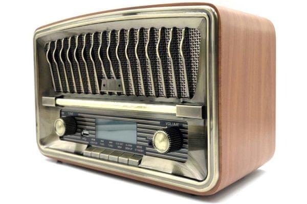 Bluetooth usb aux retro prehrávač luvianta rad-305ub am fm rádio lcd displej hodiny budenia alarm 30 predvolieb