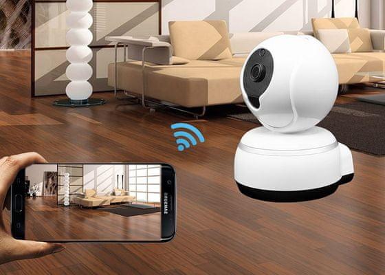 Wi-Fi IP kamera IQ-Tech SmartLife WC005, dvojcestné audio, mikrofón, reproduktor, otáčanie, rotácie, rotačná, fotografie a videá do telefónu