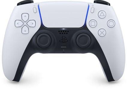 Sony PS5 DualSense, biely mikrofón reproduktory haptická odozva ergonómia