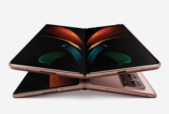 Samsung Galaxy Z Fold 2 5G, skladací, véčko, ohybný, dynamic amoled displej, Qualcomm Snapdragon 865+, duálny ultraširokouhlý fotoaparát, rýchle nabíjanie, rýchle bezdrôtové nabíjanie, reverzné dobíjanie