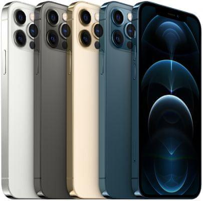 Apple iPhone 12 Pro, supervýkonný procesor, strojové učenie, A14 Bionic, duálny ultraširokouhlý fotoaparát, IP68, vodeodolný, Face ID, čítačka tváre, Dolby Atmos