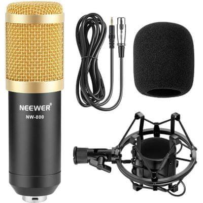 moderní kondenzátorový mikrofon neewer nw-800 absorbér otřesů ochrana před větrem propojovací kabel dynamické nahrávky vykreslené detaily snadná přenosnost